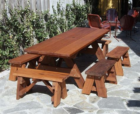 wooden picnic tables with separate benches redwood outdoor picnic bench made with extra wide boards