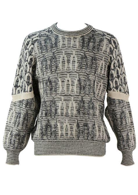 mens black patterned jumper textured grey black and cream knit patterned jumper l