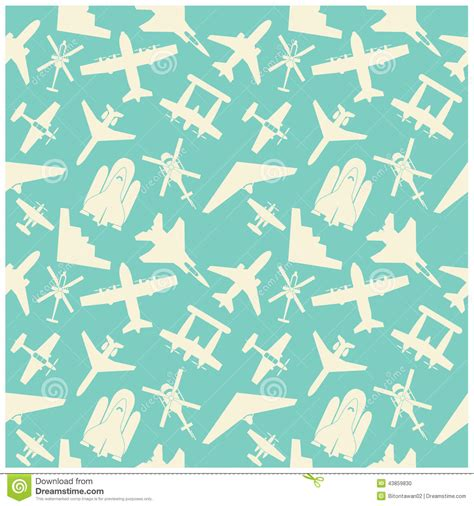 icon pattern background free airplane icons and background pattern stock vector