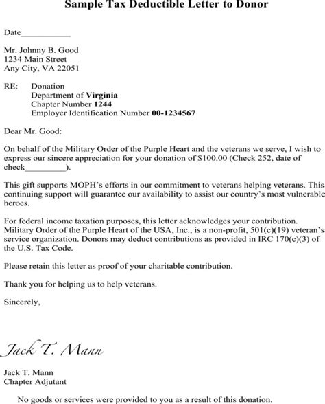 Donation Letter No Goods Or Services donation thank you letter template for free formtemplate