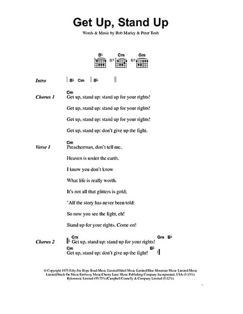 lyrics get up get up stand up sheet by bob marley lyrics