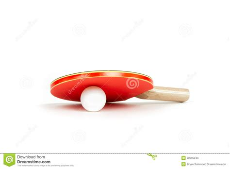 ping pong paddle and ball on a white background stock