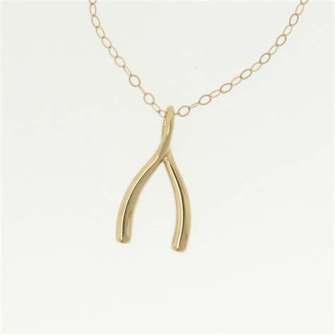 14k gold wishbone necklace as seen on anniston