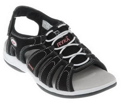 qvc ryka sandals quot as is quot ryka lighyweight fisherman sandals w hook loop