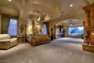Mediterranean Master Bedroom with Ornate four poster bed & Carpet in Paradise Valley, AZ