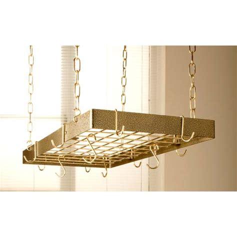 Bronze Hanging Pot Rack Hammered Bronze Rectangular Pot Rack With Brass Accents