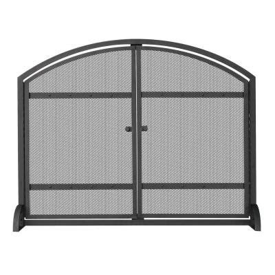 fireplace screen home depot uniflame 1 panel arch top black wrought iron fireplace screen with doors s 1066 the home depot