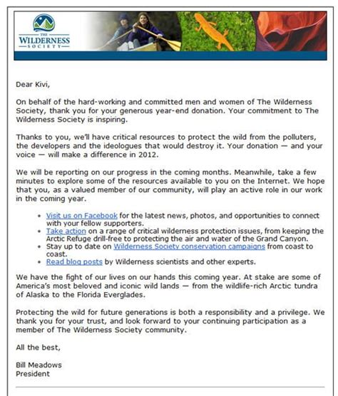 Thank You Letter For Of The Year Kivi Shared This Amazing Thank You Letter From The Wilderness Society A Great Exle Of