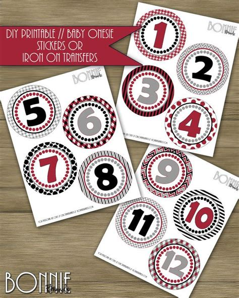 free printable iron on transfers for onesies printable diy monthly onesie stickers or iron on transfers