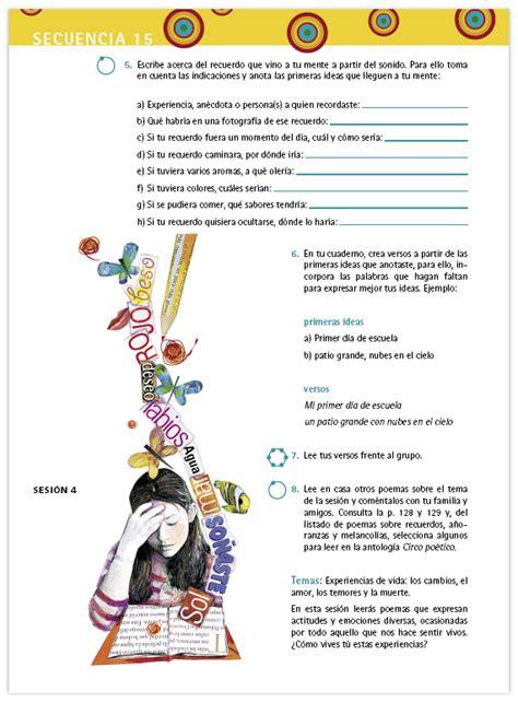 poesia imagenes sensoriales actividades espa 241 ol libro para el maestro telesecundaria primer