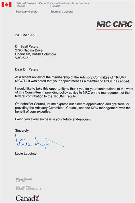 Thank You Letter For Committee Basil Peters Nrc Cnrc Triumf Advisory Committee