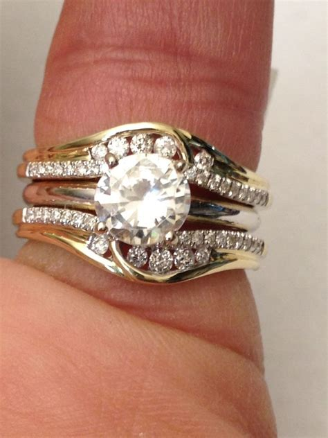 14k yellow gold solitaire enhancer diamonds ring