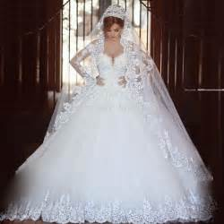 Wedding Dresses Sale Sale Sheer Long Sleeves Wedding Dress 2016 Casamento Romantico Ball Gown Lace Appliques