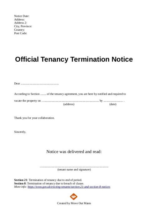 End Of Lease Notice Sle Letter To Tenant termination of lease letter template business