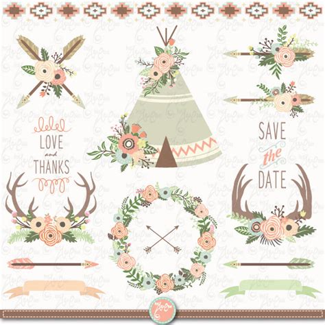 Wedding Tent Clip by Floral Tribal Clip Floral Teepee Clipart
