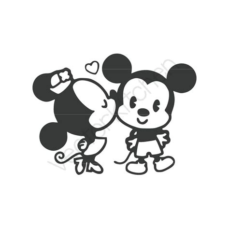imagenes a blanco y negro de minnie retro kissing mickey minnie inspired cutting template svg