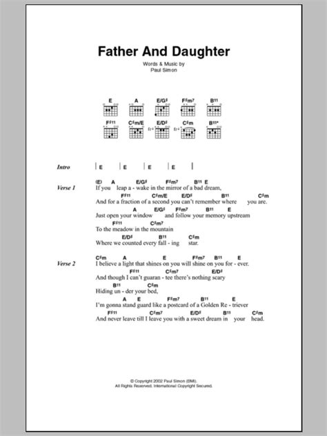 tutorial piano father and son father and daughter by paul simon guitar chords lyrics