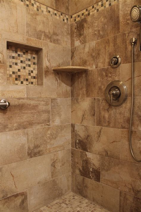 Earth Tone Bathroom Designs by Shower Design With Beige Earth Tone Tile And Mosaic
