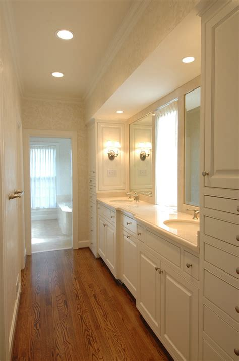 galley bathroom ideas galley style master bathroom ivory damask wallpaper