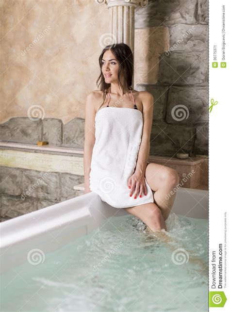 women in the bathtub pretty woman relaxing in the hot tub stock image image