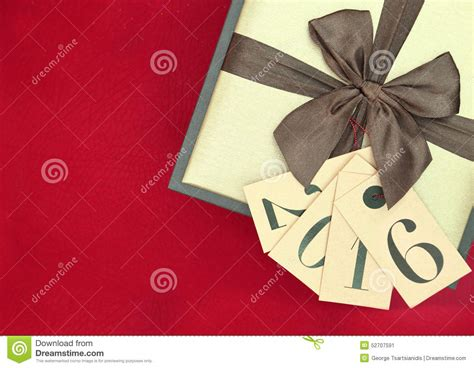 new year 2016 gift tag gift box and tags with new year 2016 stock photo image