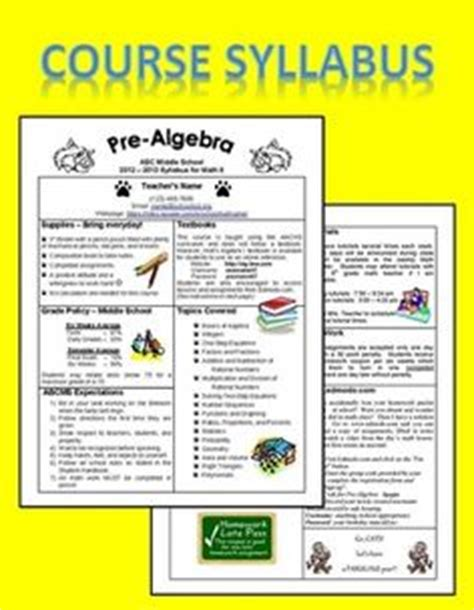 class syllabus template middle school team taught algebra on algebra algebra 1 and