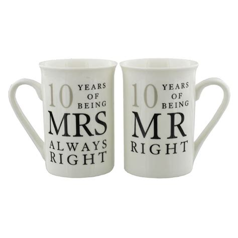 Wedding Anniversary 10th by 10th Wedding Anniversary Mr Mrs Mug Gift Set 10 Years