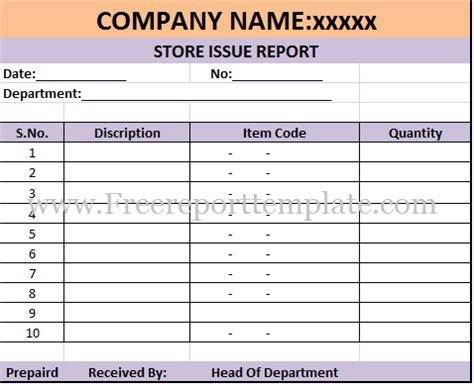 store issue report template free report templates