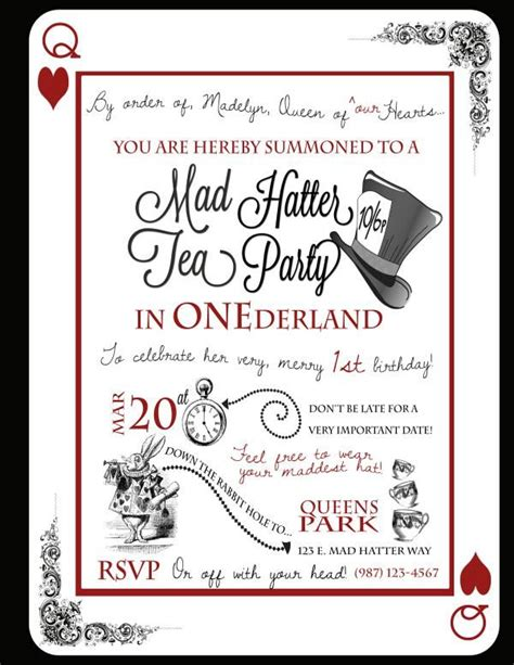 mad hatter tea invitations templates tea in quot one quot derland or just if it s not
