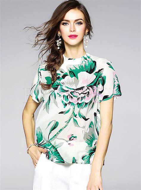 Floral Print Sleeve T Shirt floral print silk sleeve t shirt ezpopsy