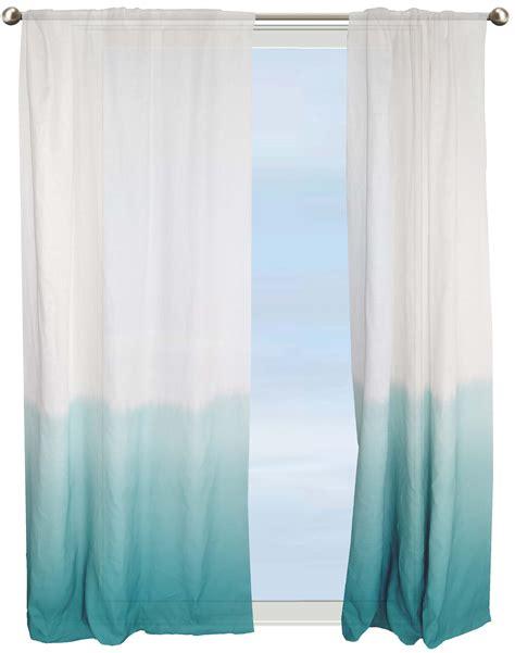 curtains aqua dip dye border semi sheer curtain aqua under the sea