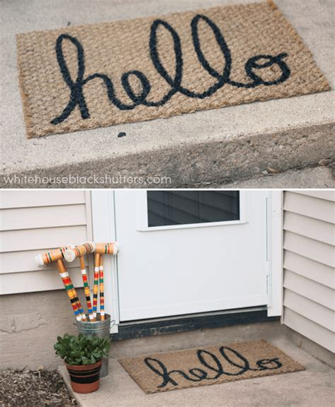 welcome mat material hello welcome mat white house black shutters