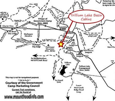 map of kahneeta oregon barlow cabin at trillium lake basin cabins at mt