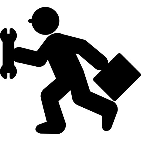 repair icon running repair man with wrench and kit free people icons