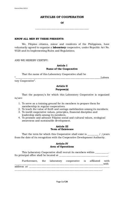 Laboratory Cooperative Article Of Cooperation And By Laws Template Boy Scout Troop Bylaws Template