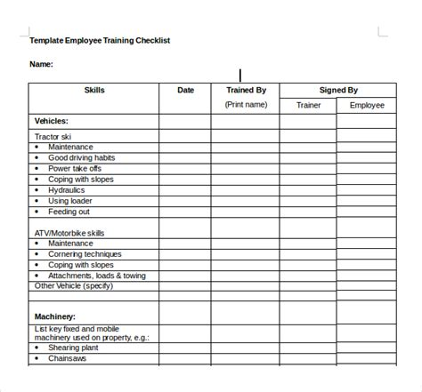 Training Checklist Template 15 Free Word Excel Pdf Documents Download Free Premium Free New Employee Orientation Checklist Templates