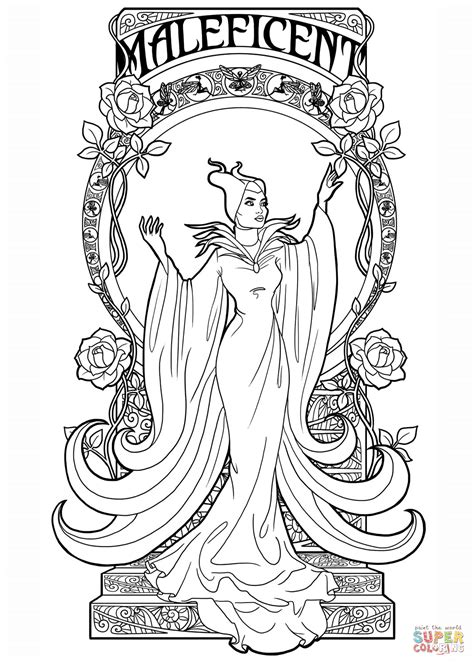 printable art coloring sheets art nouveau maleficent coloring page free printable