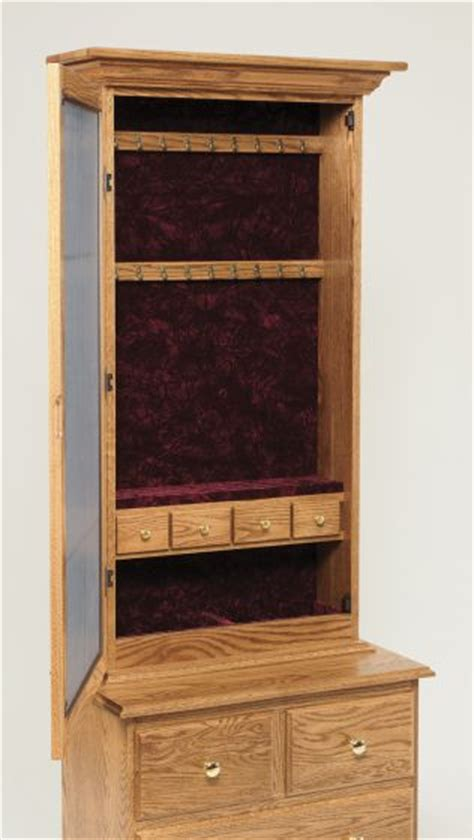 oak mirror jewelry armoire mirrored jewelry armoire with drawer base amish bedroom