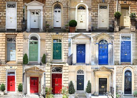 Georgian Front Door Colours Image Of Front Doors Collage Georgian Townhouse Doors Colours Stock Photo Istock