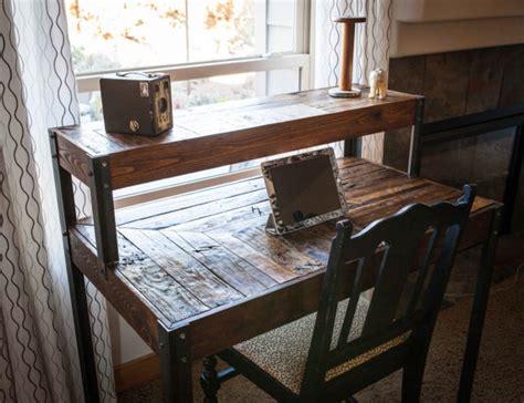 Repurposed Computer Desk Repurposed Pallet Wood Desk Tiered With Metal Legs