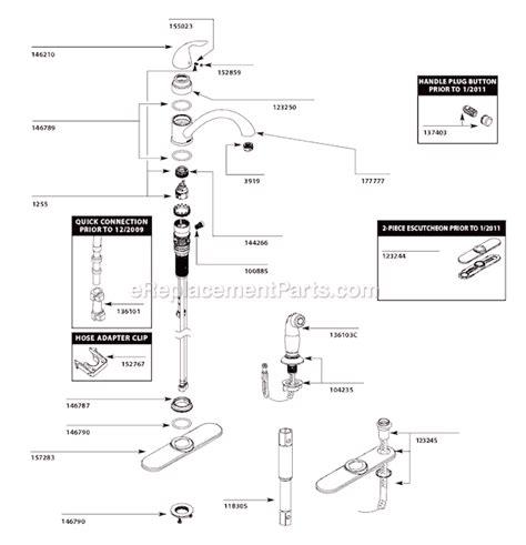 Moen 7400 Faucet Repair Moen Ca87480 Parts List And Diagram Ereplacementparts Com