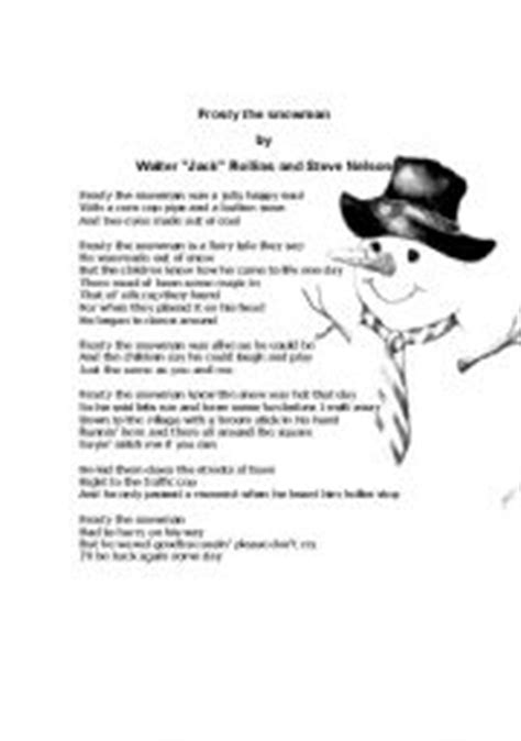 printable lyrics for frosty the snowman english worksheets frosty the snowman