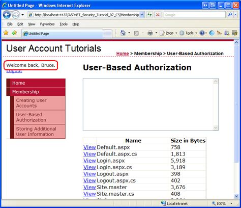 tutorial asp net security user based authorization c the asp net site