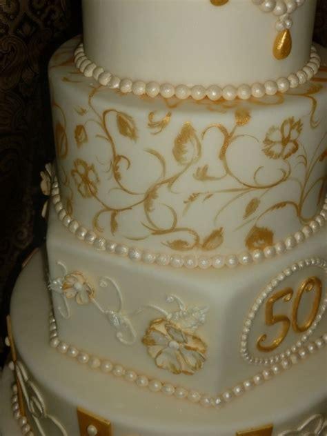 Golden Anniversary Cake   CakeCentral.com