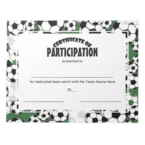soccer certificates of participation notepad zazzle