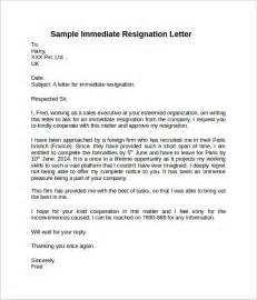 Immediate Resignation Letter Exles by Sle Resignation Letter Notice 6 Free Documents In Word Pdf