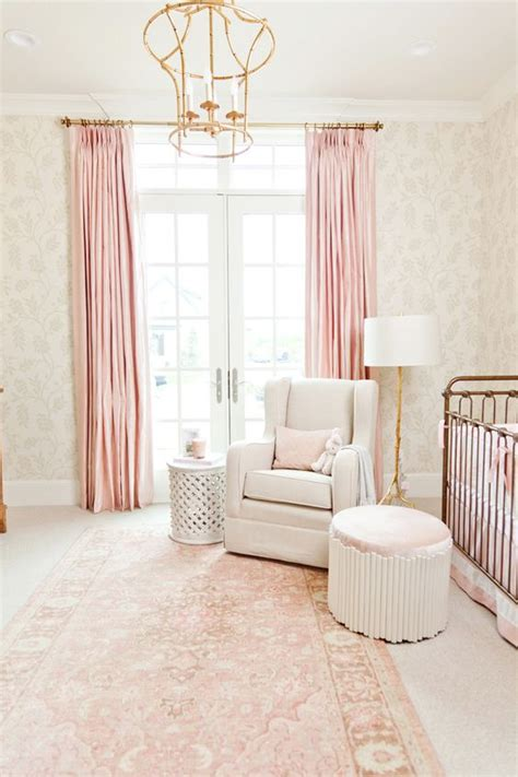 pink and gold curtains inside a perfectly elegant pink and gold nursery girls