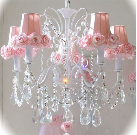 pink mini l shades for chandeliers 5 light chandelier with pink rose shades medium image for
