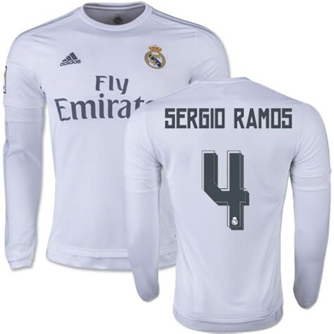 Jersey Real Madrid Home 1516 Sleeve 4 s sergio ramos real madrid cf soccer jersey white home authentic 15 16 spain futbol club