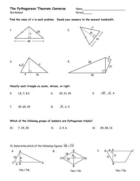 Pythagorean Theorem Worksheets Grade 8